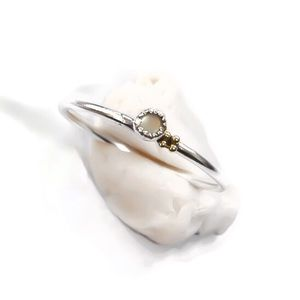 Minimalist Ring - Real Pearl - 14K Dot Cluster
